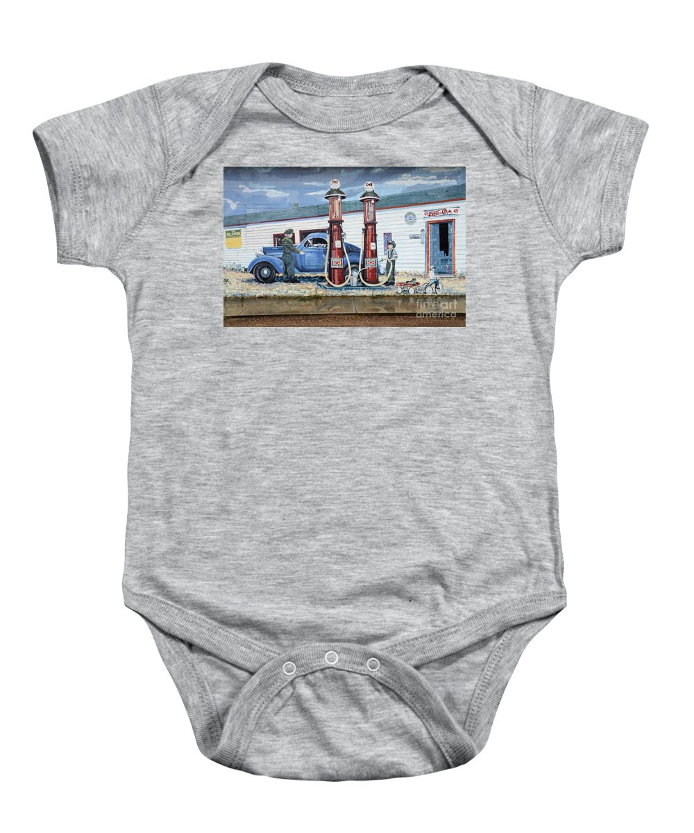 Mural Art Baby Onesie featuring the photograph Mural Art At Consul by Bob Christopher