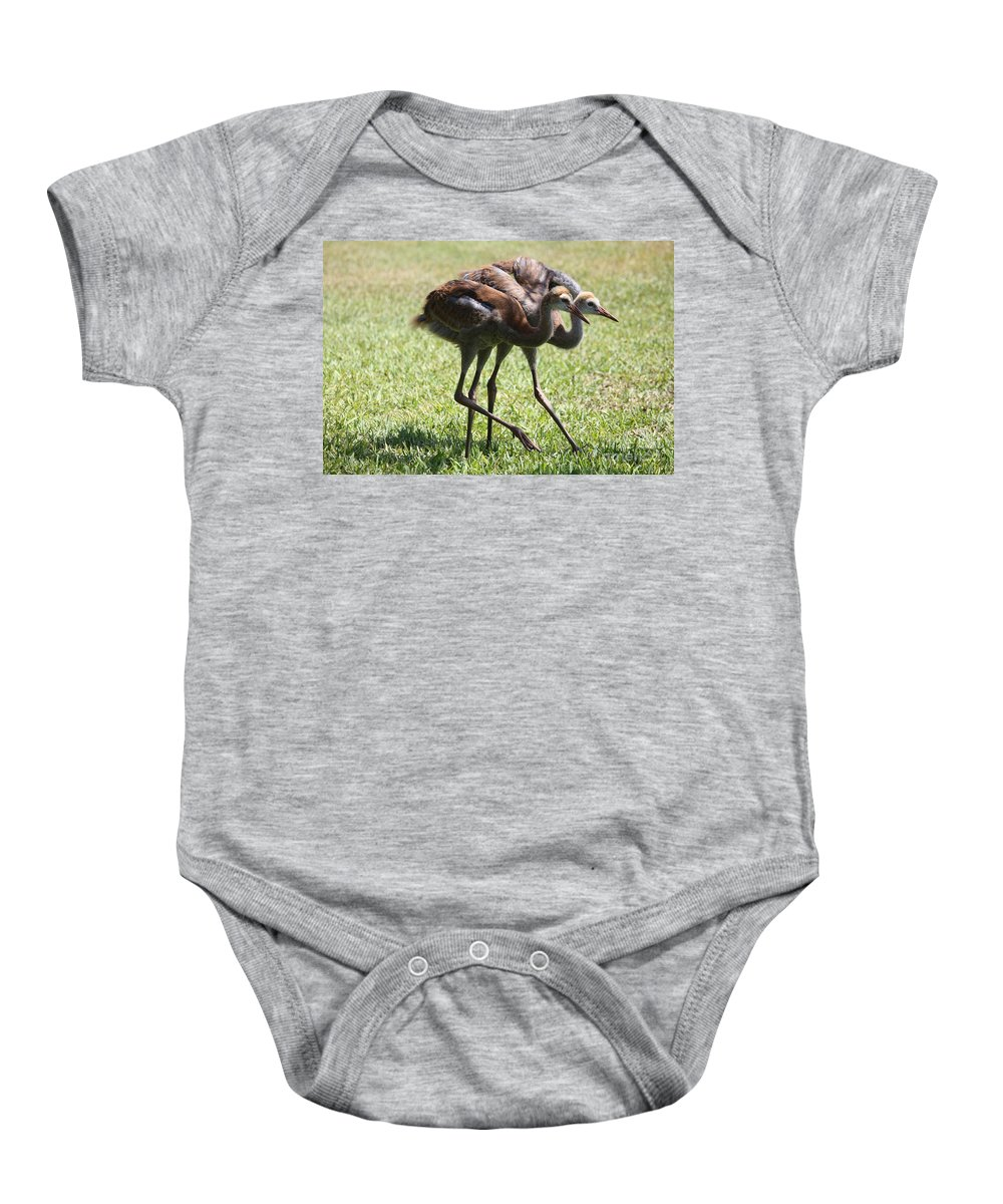 Sandhill Cranes Baby Onesie featuring the photograph Neck And Neck by Carol Groenen