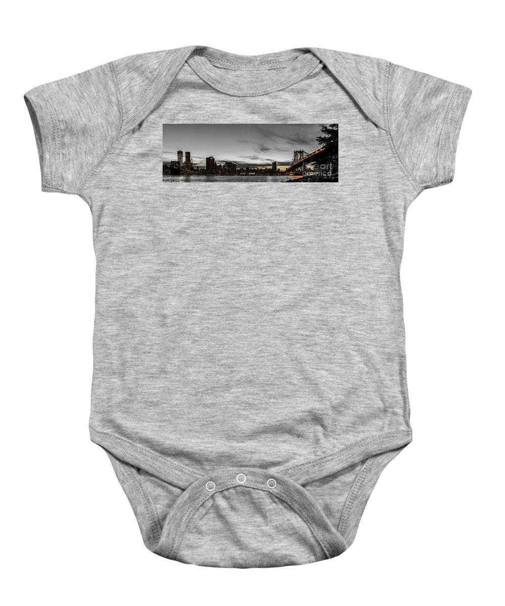 Manhattan Baby Onesie featuring the photograph New Yorks Skyline At Night Colorkey by Hannes Cmarits