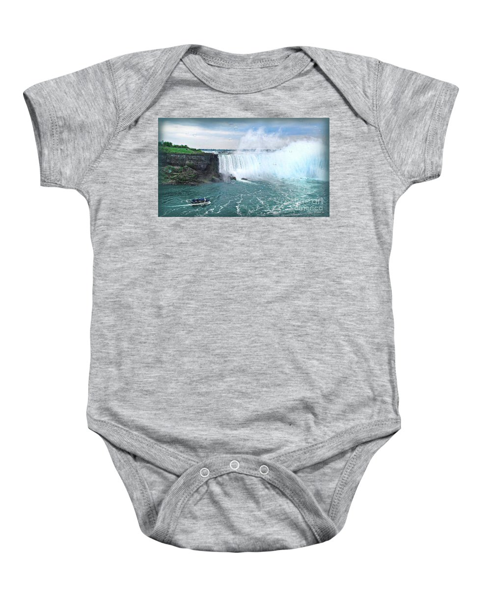 Niagara Baby Onesie featuring the photograph Niagara Falls And The Bubbles by Joan Minchak