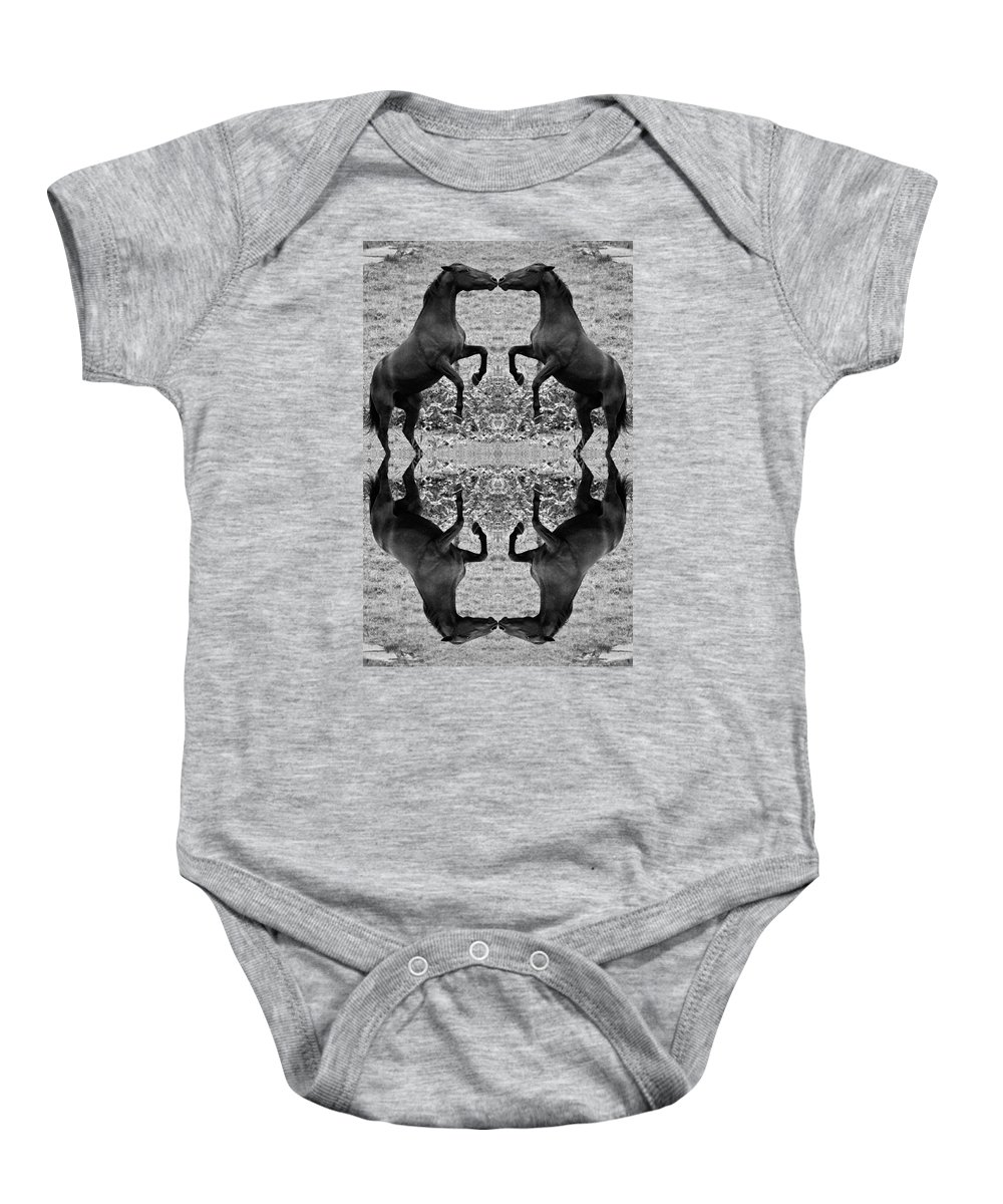 Horse Baby Onesie featuring the digital art Nose To Nose by Betsy Knapp