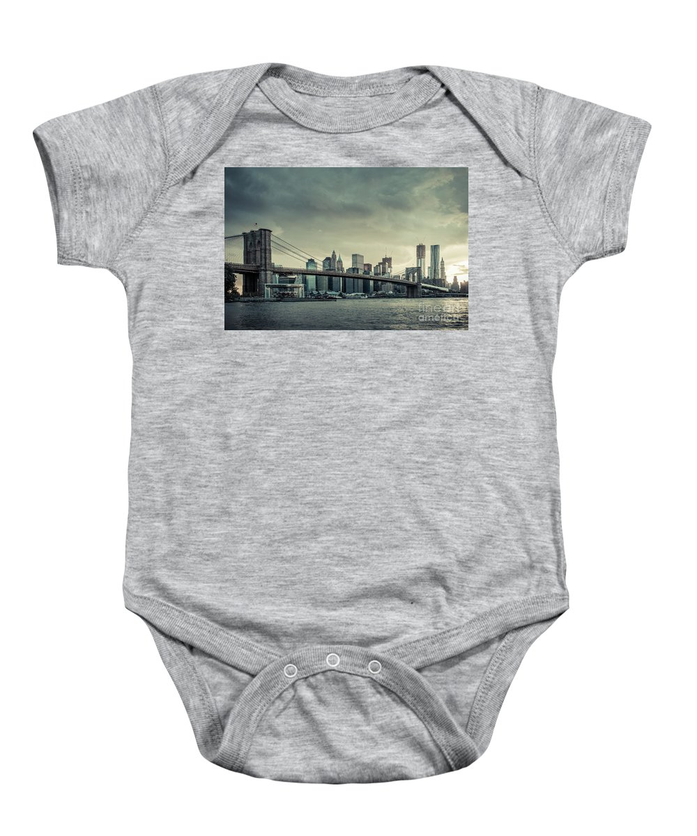 Nyc Baby Onesie featuring the photograph Nyc Skyline In The Sunset V2 by Hannes Cmarits