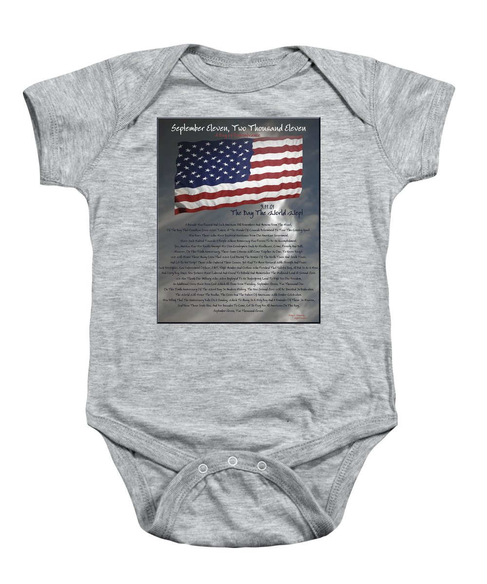 9/11 Baby Onesie featuring the digital art Ode For September Eleven Anniversary by DigiArt Diaries by Vicky B Fuller