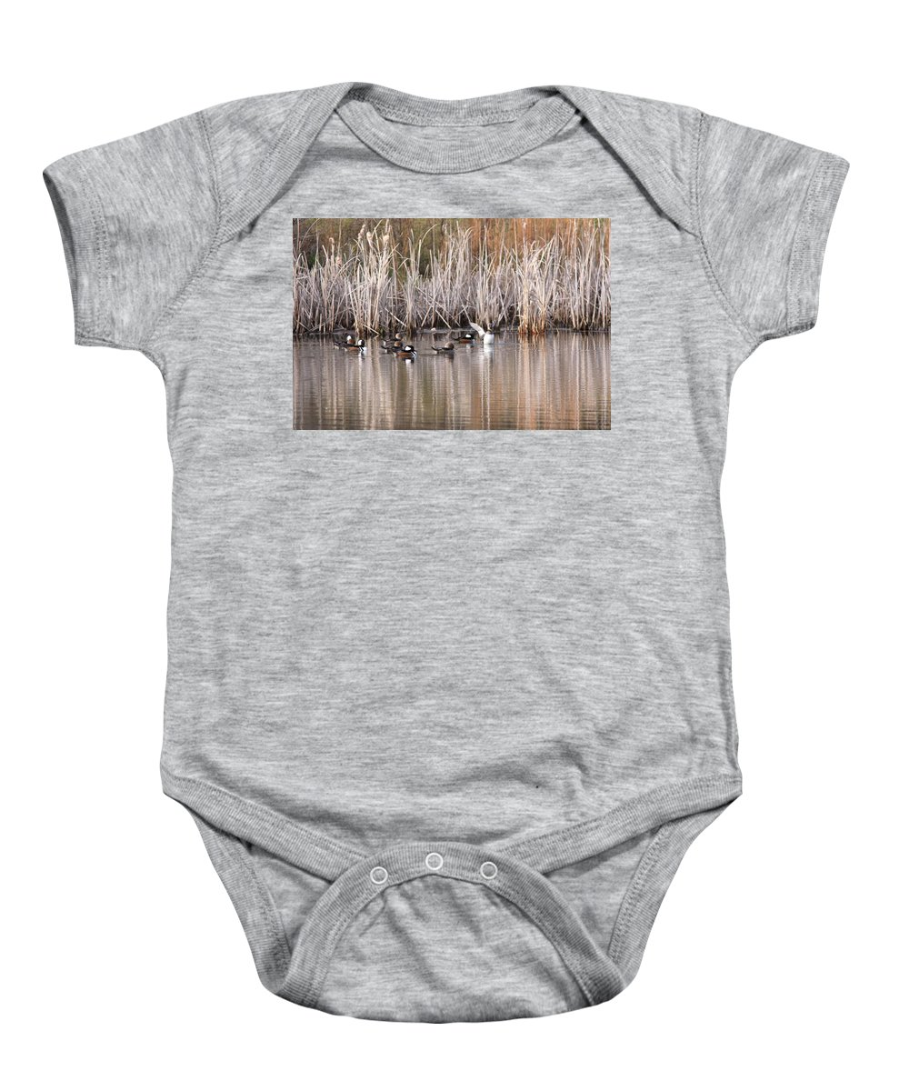 Hooded Merganser Baby Onesie featuring the photograph Oh Yeah by Travis Truelove