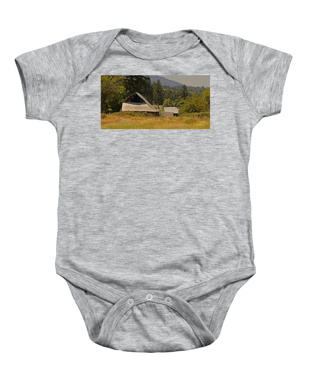 Hot Baby Onesie featuring the photograph Old Barn On A Hot Summer Day In The Applegate by Mick Anderson