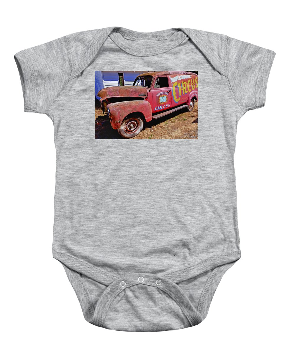 Red Baby Onesie featuring the photograph Old Circus Truck by Garry Gay