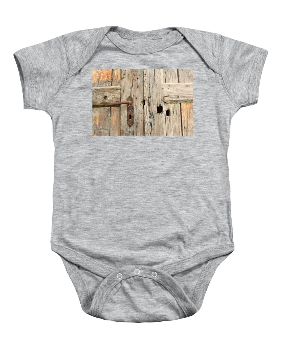 Sebastia Baby Onesie featuring the photograph Old Door In Sebastia by Munir Alawi