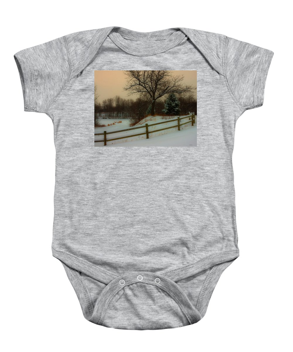 Winter Scene Baby Onesie featuring the photograph Old Fashiion Winter by Edward Peterson