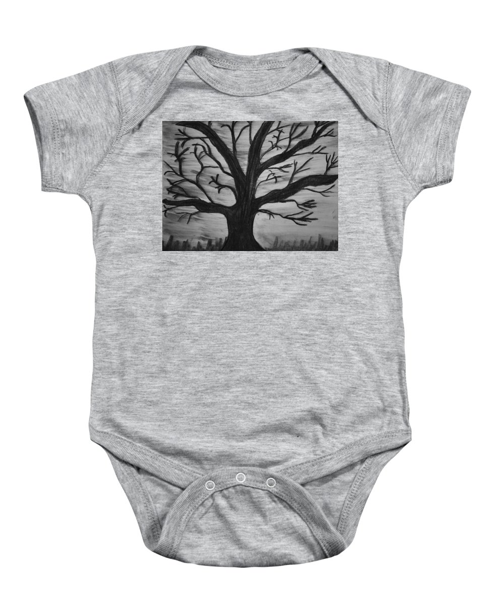 B&w Baby Onesie featuring the drawing Old Tree With No Leaves by Mike M Burke