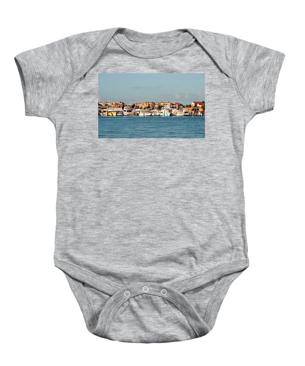 Boats Baby Onesie featuring the photograph Olde Naples Seaport by Christine Stonebridge