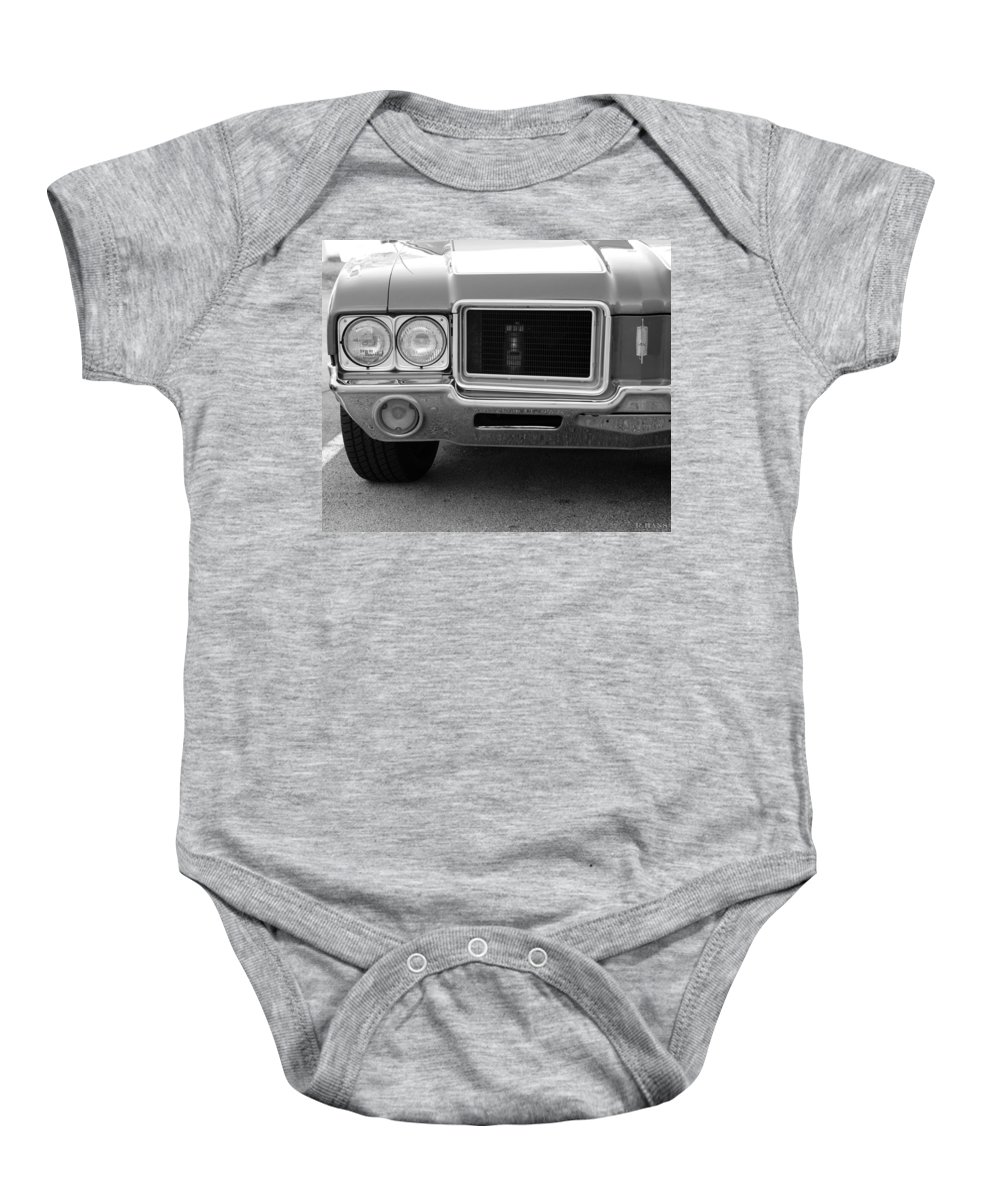 Oldsmobile Baby Onesie featuring the photograph Olds C S In Black And White by Rob Hans