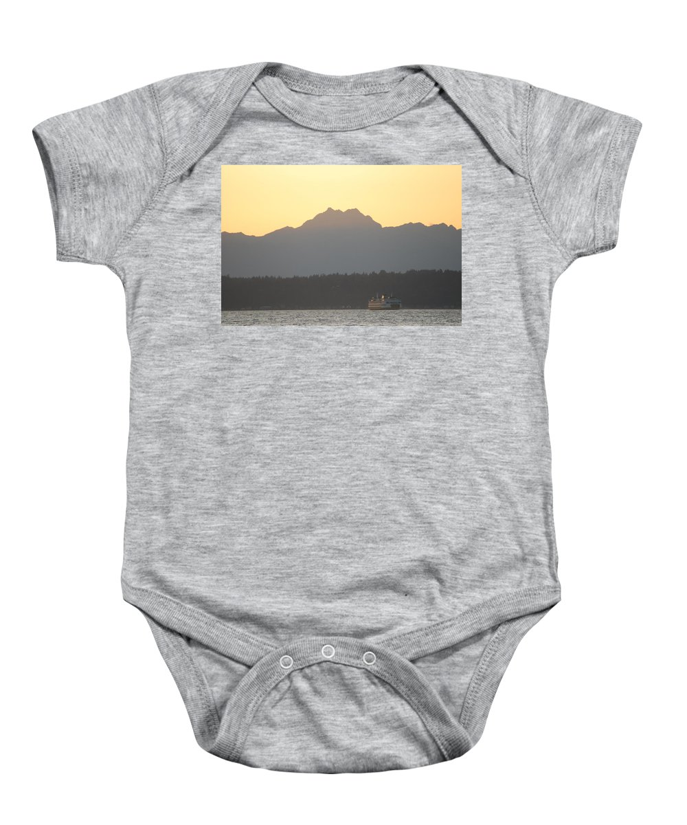 Sunset Baby Onesie featuring the photograph Olympic Mountain Sunset On Puget Sound by Michael Merry