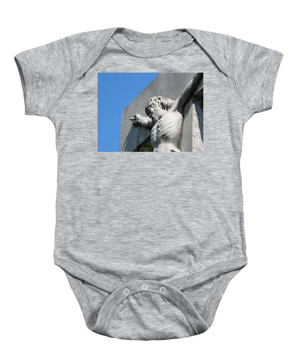 Jesus Baby Onesie featuring the photograph On The Cross by Michele Nelson