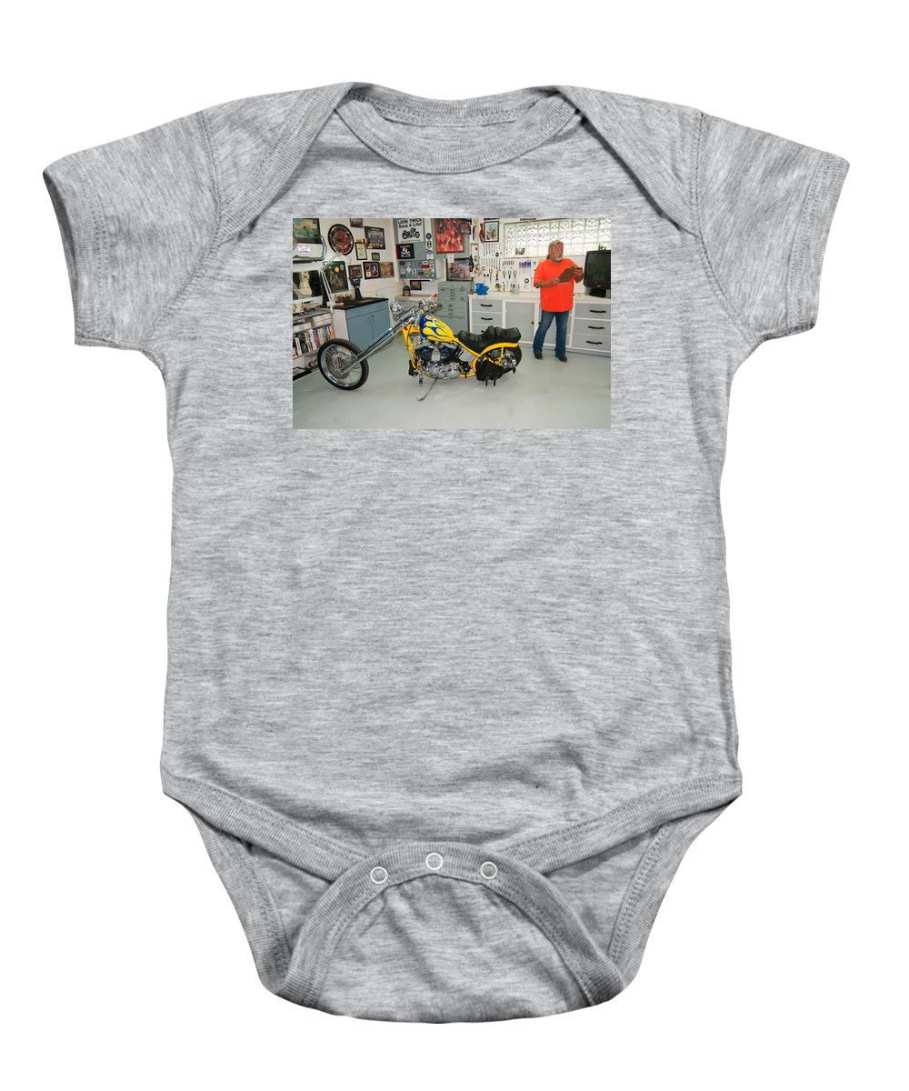 Yellow Chopper Baby Onesie featuring the photograph One Chopper Coming Up by Randall Branham