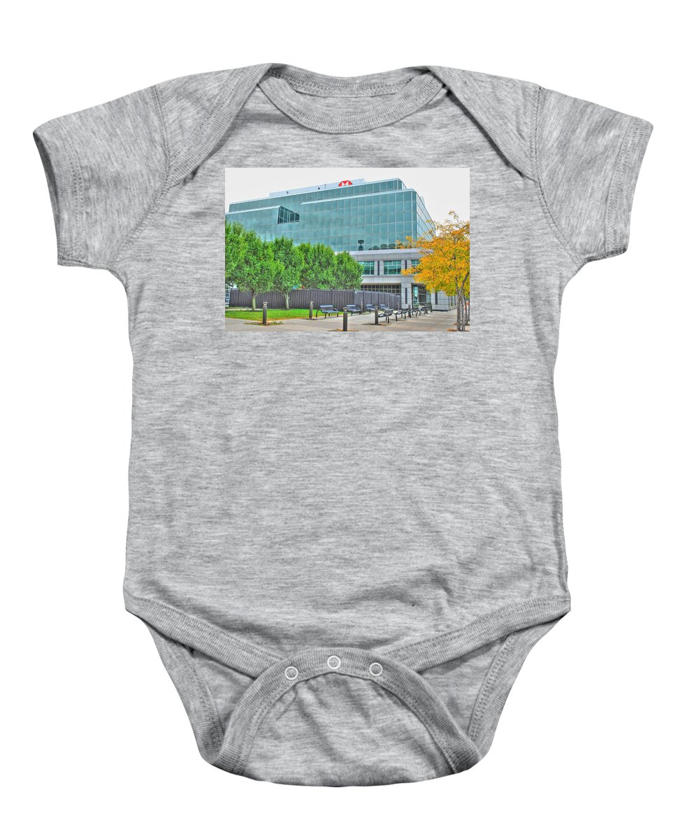 Baby Onesie featuring the pyrography Opposing Trees Of Season by Michael Frank Jr