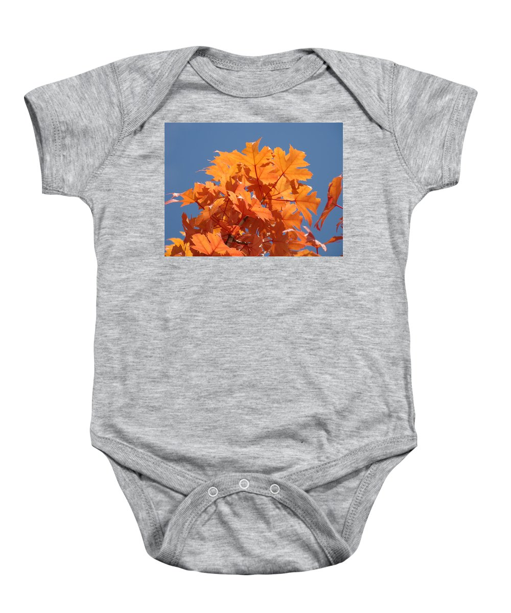 Autumn Baby Onesie featuring the photograph Orange Autumn Leaves Art Prints Blue Sky by Baslee Troutman