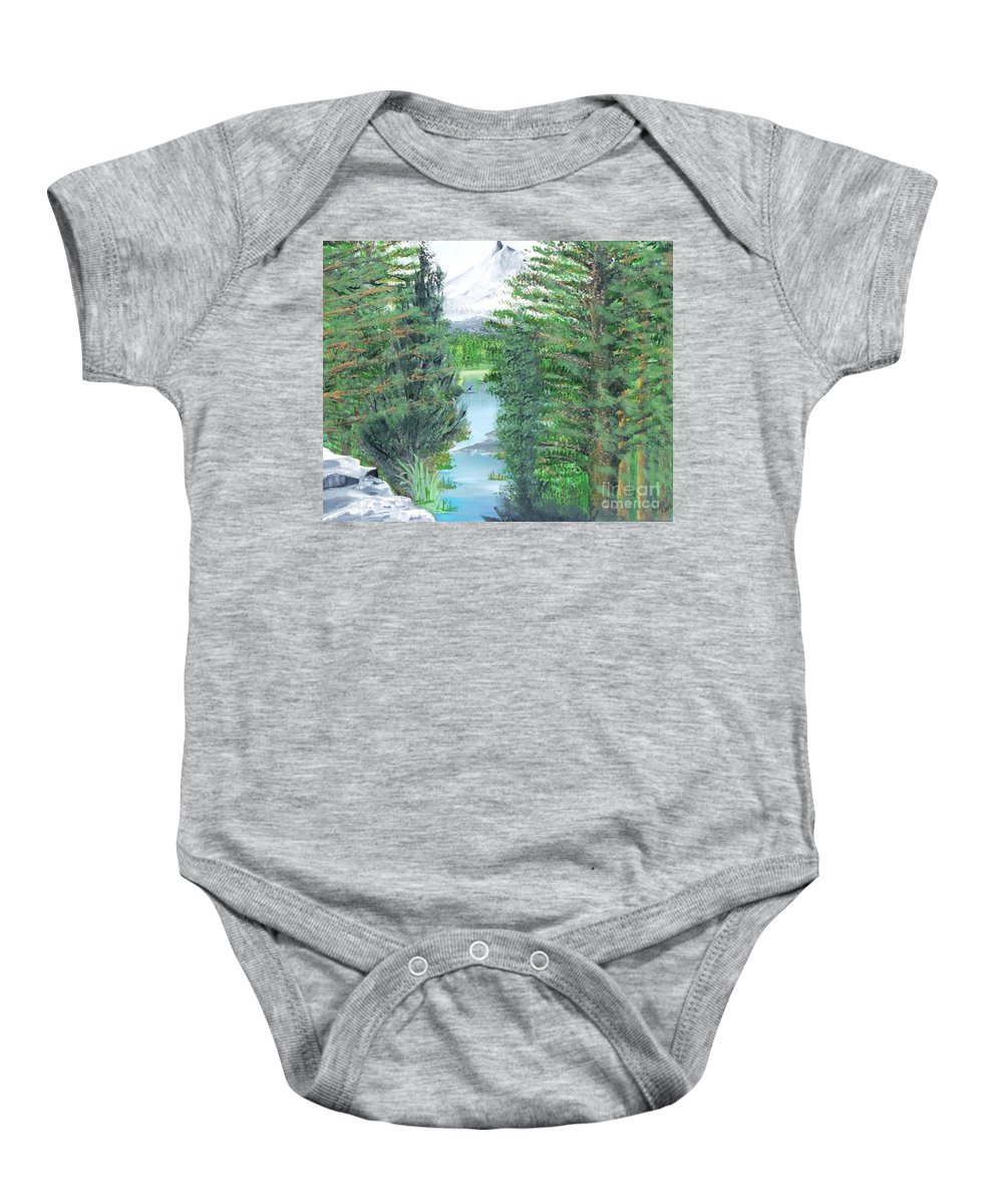 Mt. Hood Baby Onesie featuring the painting Oregon Reverie by Alys Caviness-Gober