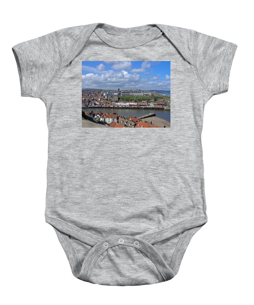 Cars Baby Onesie featuring the photograph Overlooking Whitby by Rod Johnson