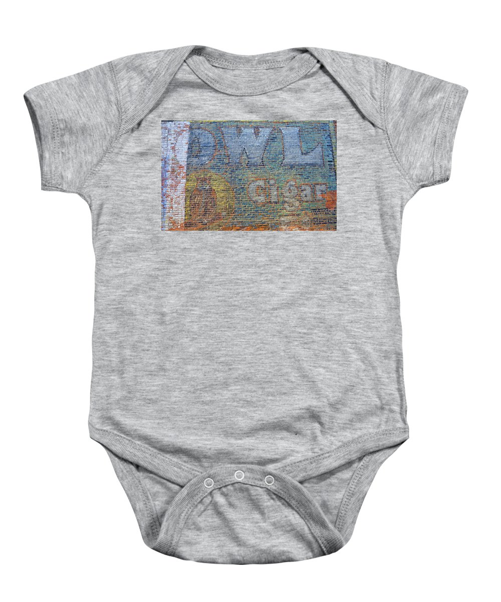 Sign Baby Onesie featuring the photograph Owl Cigar Sign by David Arment