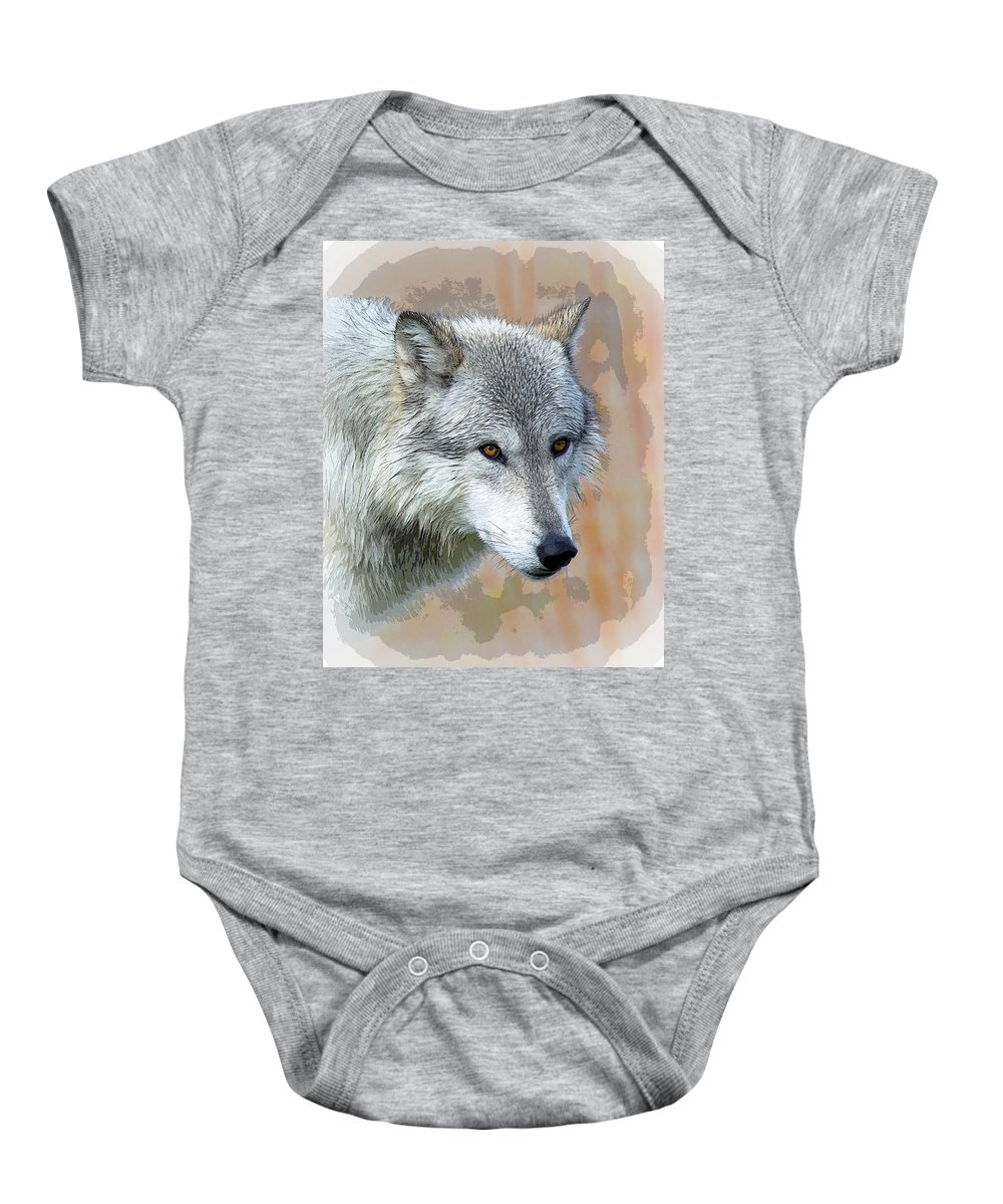 Painted Wolf Baby Onesie featuring the photograph Painted Grey Wolf by Steve McKinzie