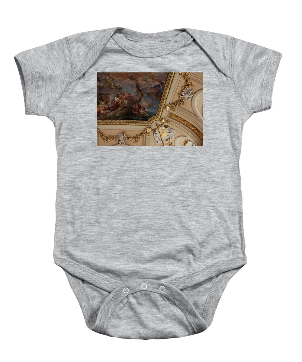 Madrid Baby Onesie featuring the photograph Palace Ceiling Detail by Lorraine Devon Wilke