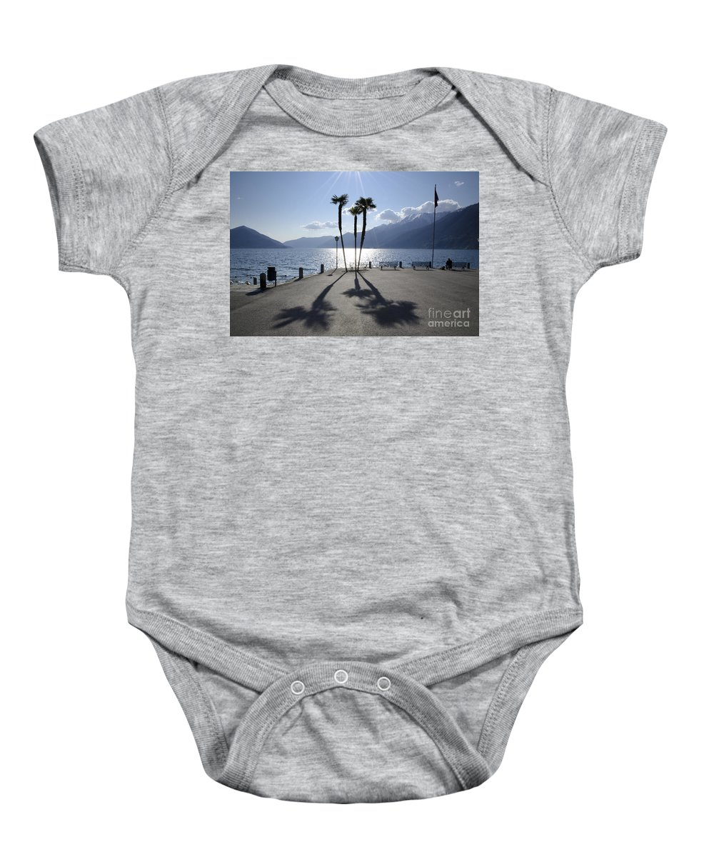 Palm Trees Baby Onesie featuring the photograph Palm Trees With Shadows by Mats Silvan
