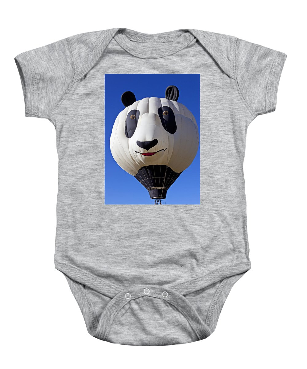 Panda Baby Onesie featuring the photograph Panda Bear Hot Air Balloon by Garry Gay