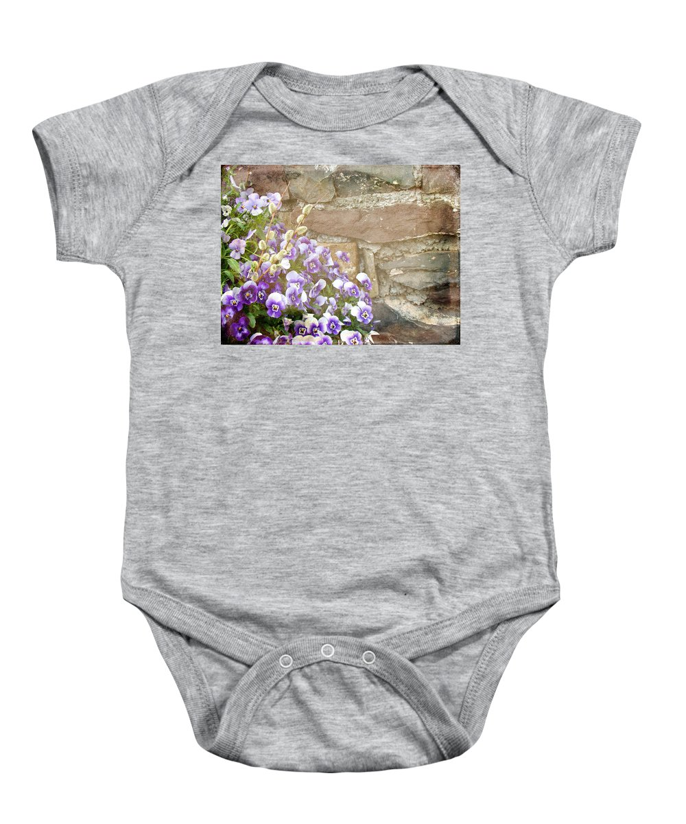 Pansies Baby Onesie featuring the photograph Pansies And Pussywillows by Mother Nature