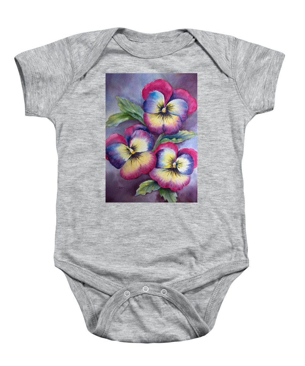 Pansy Baby Onesie featuring the painting Pansies by Dee Carpenter
