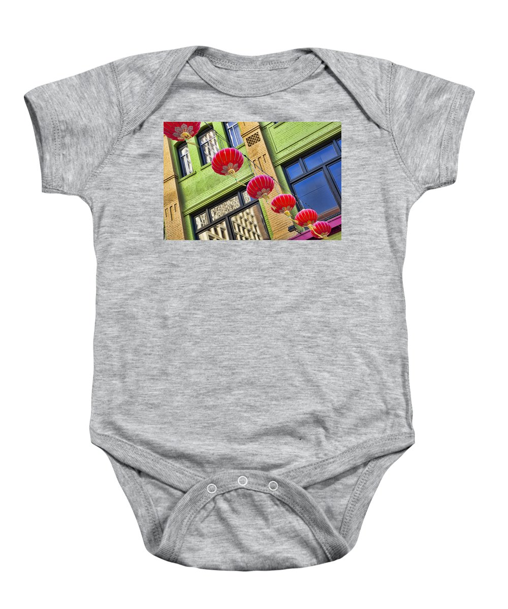 Chinatown Baby Onesie featuring the photograph Paper Lanterns by Kelley King