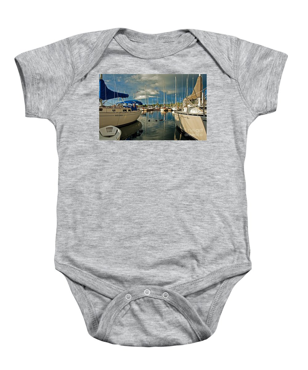 Sailboat Baby Onesie featuring the photograph Paper Moon by Barbara McMahon