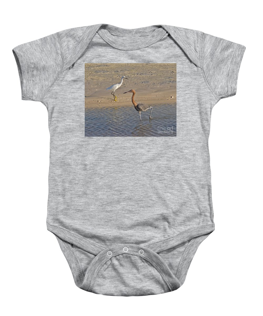 Ruffled Baby Onesie featuring the photograph Passing Egrets by Stephen Whalen