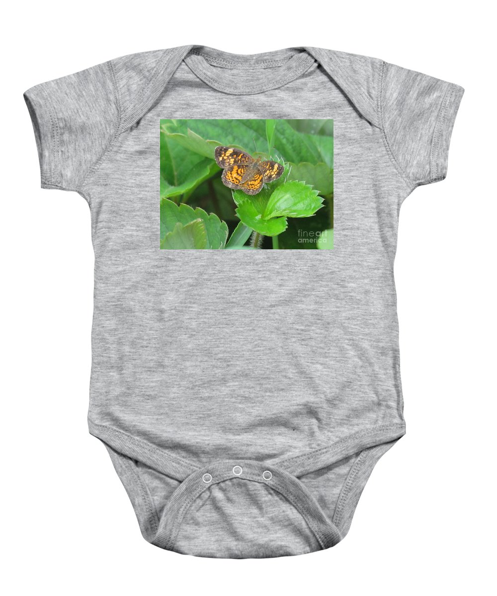 Butterfly Baby Onesie featuring the photograph Pearl Crescent Butterfly by Randi Shenkman