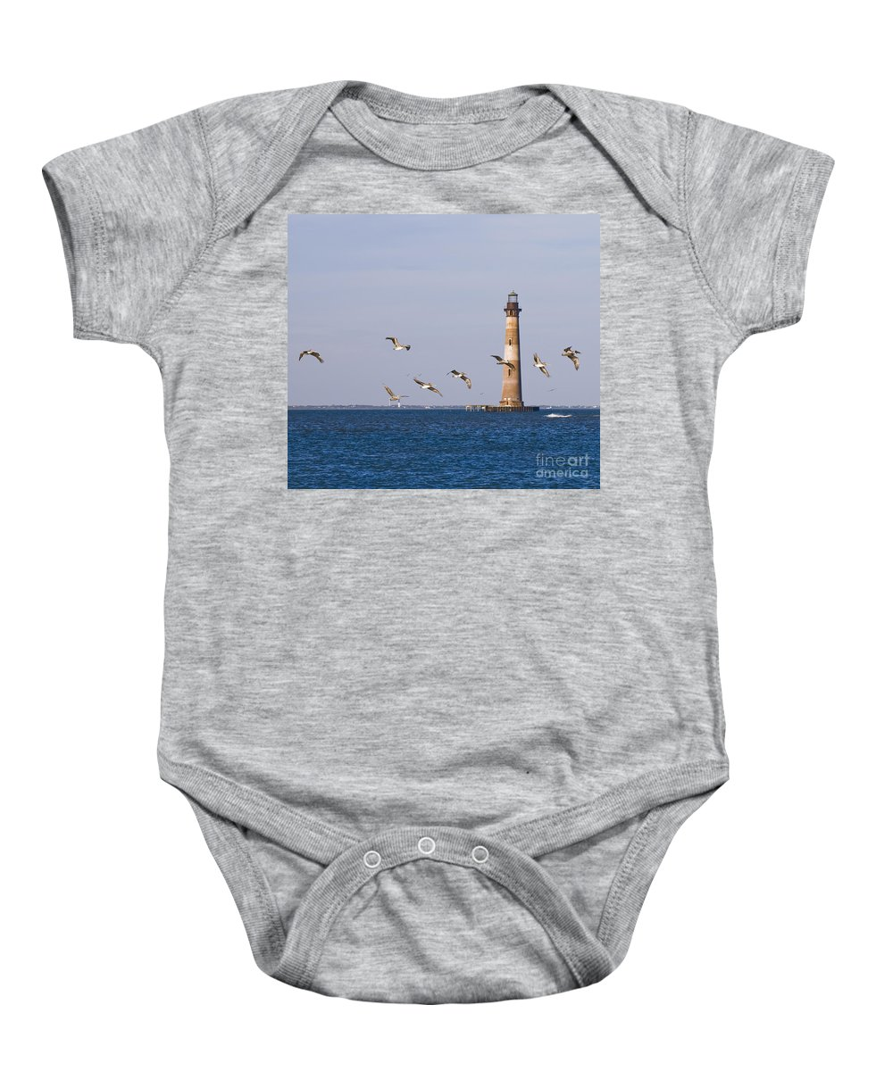 Morris Island Light Baby Onesie featuring the photograph Pelicans And Morris Island Light 2 by Tim Mulina