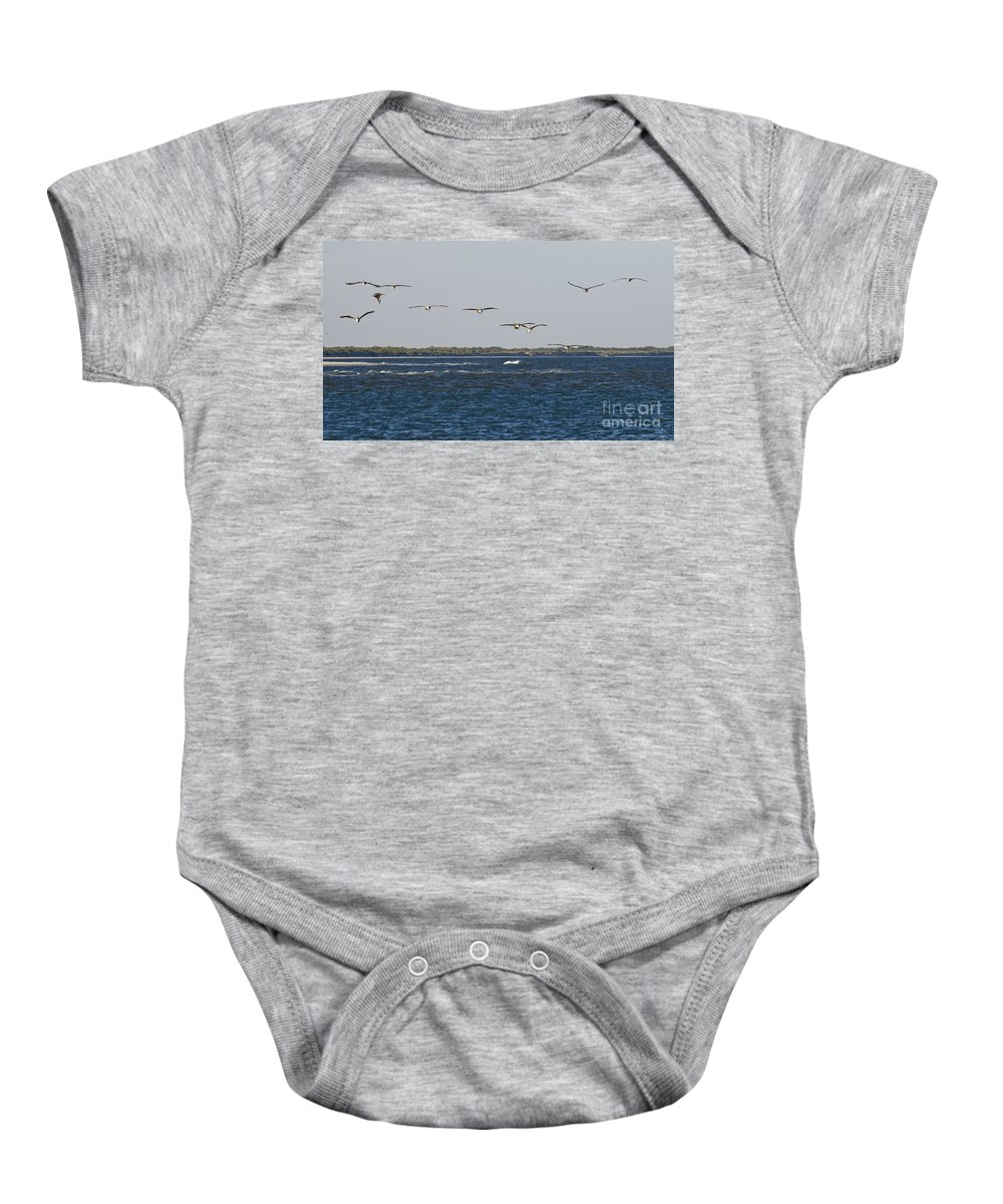 Pelicans Baby Onesie featuring the photograph Pelicans In Line by Tim Mulina