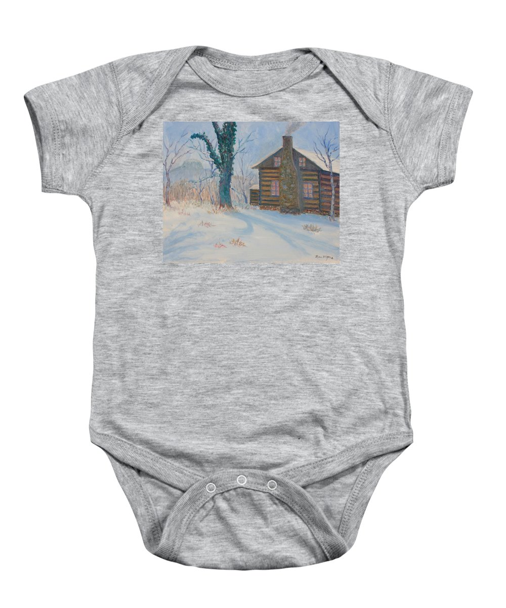 Pilot Mountain Baby Onesie featuring the painting Pilot Mountain Lodge by Ben Kiger