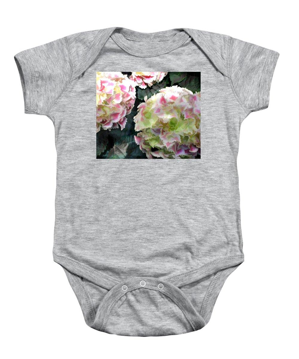 Flower Flowers Garden Hydrangea Hydrangeas Pink Flora Floral Nature Natural Baby Onesie featuring the painting Pink Hydrangeas by Elaine Plesser