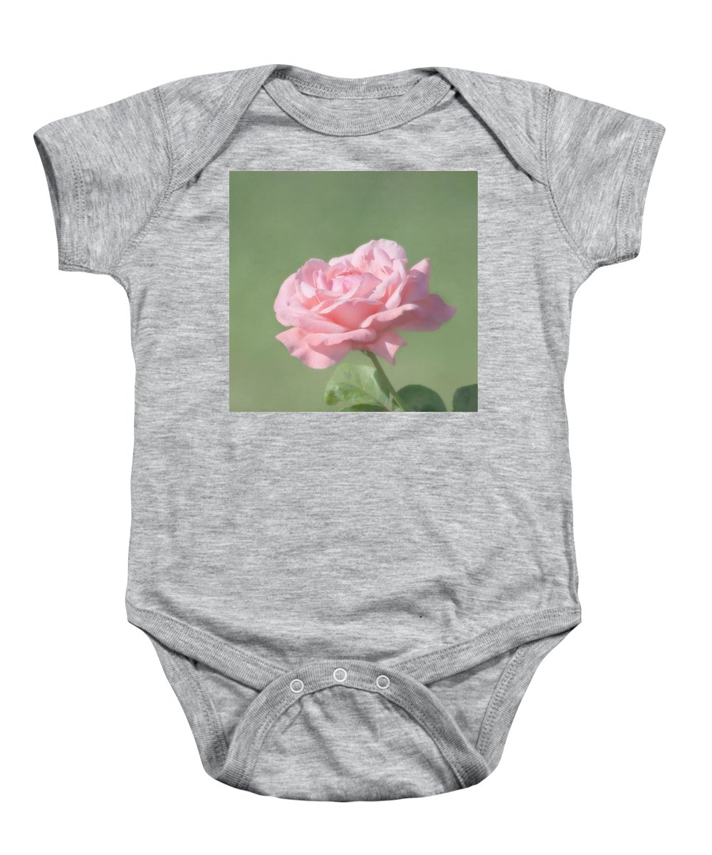 Flower Baby Onesie featuring the photograph Pink Rose by Kim Hojnacki