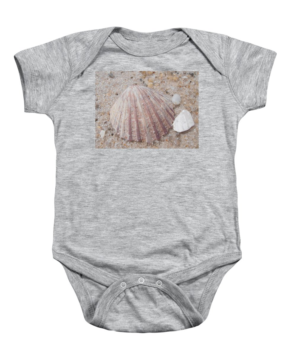 Scallop Baby Onesie featuring the photograph Pink Scallop Shell by Kimberly Perry