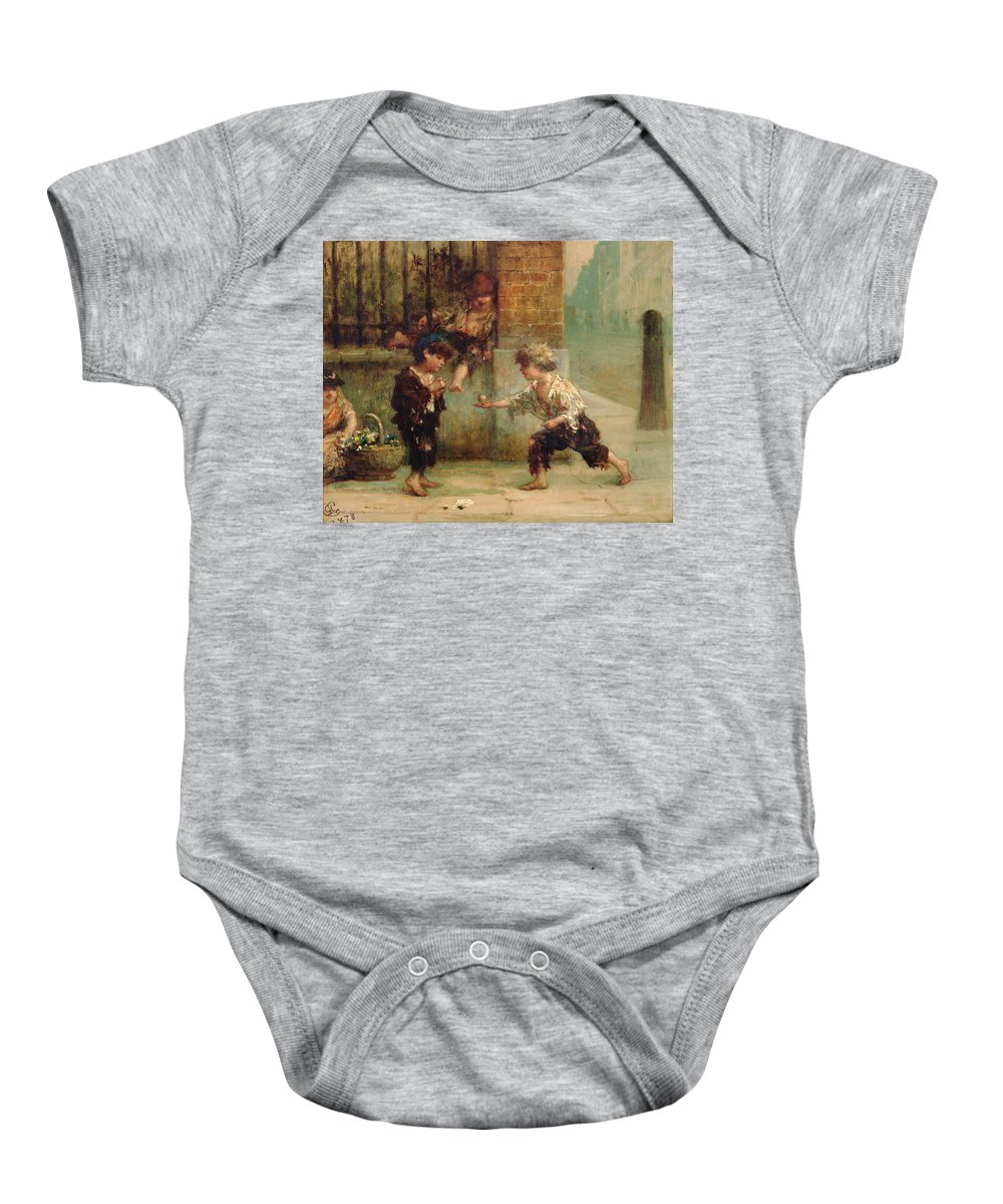 Baby Onesie featuring the painting Playing With A Top by Albert Snr Ludovici