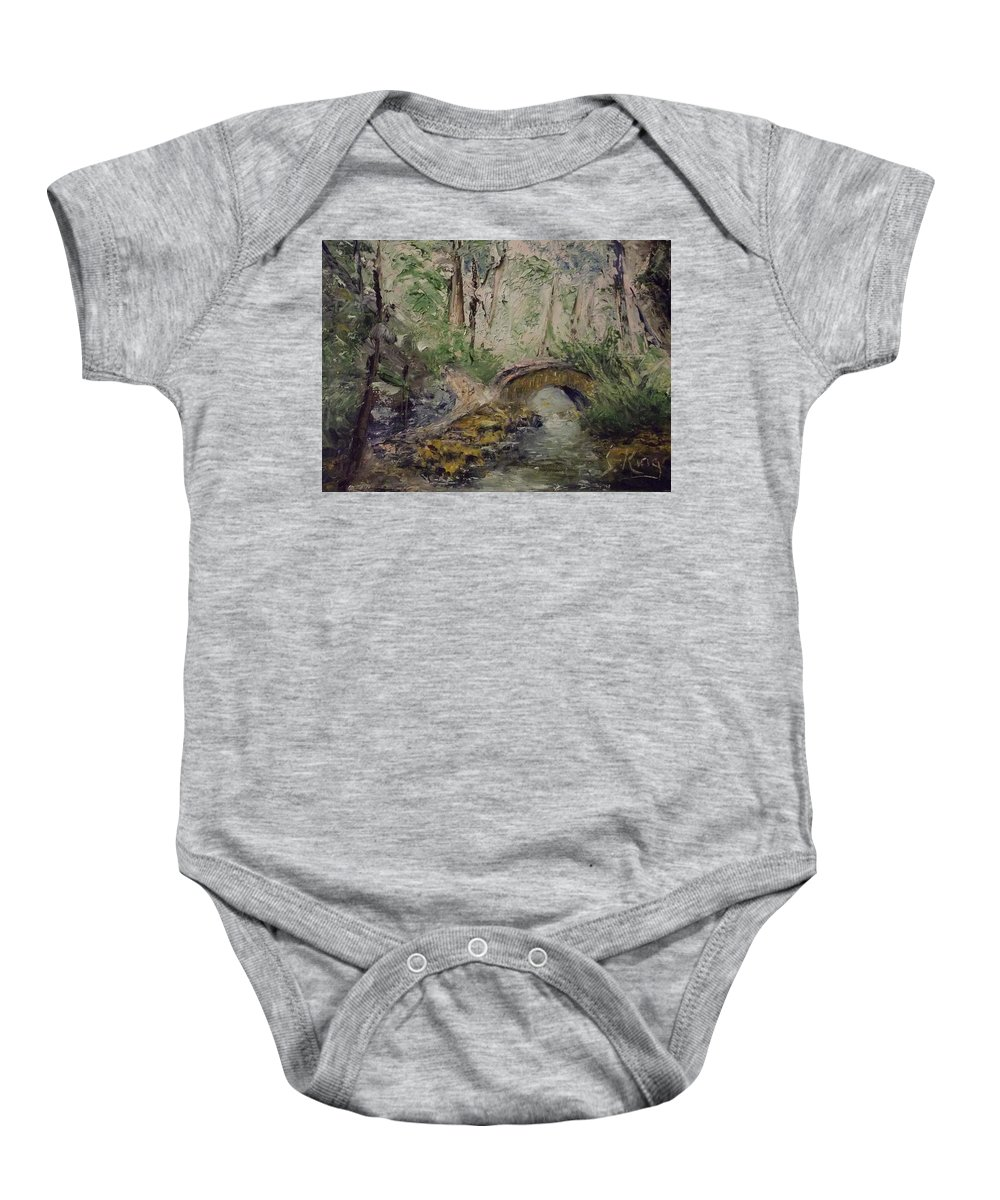 Water Baby Onesie featuring the painting Pleasant Stroll by Stephen King