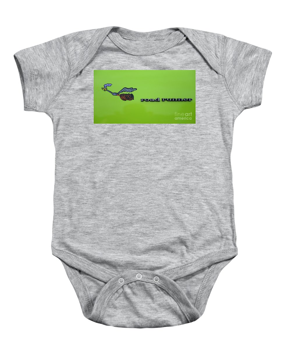 Plymoouth Road Runner In Lime Green Baby Onesie featuring the photograph Plymoouth Road Runner In Lime Green by Paul Ward