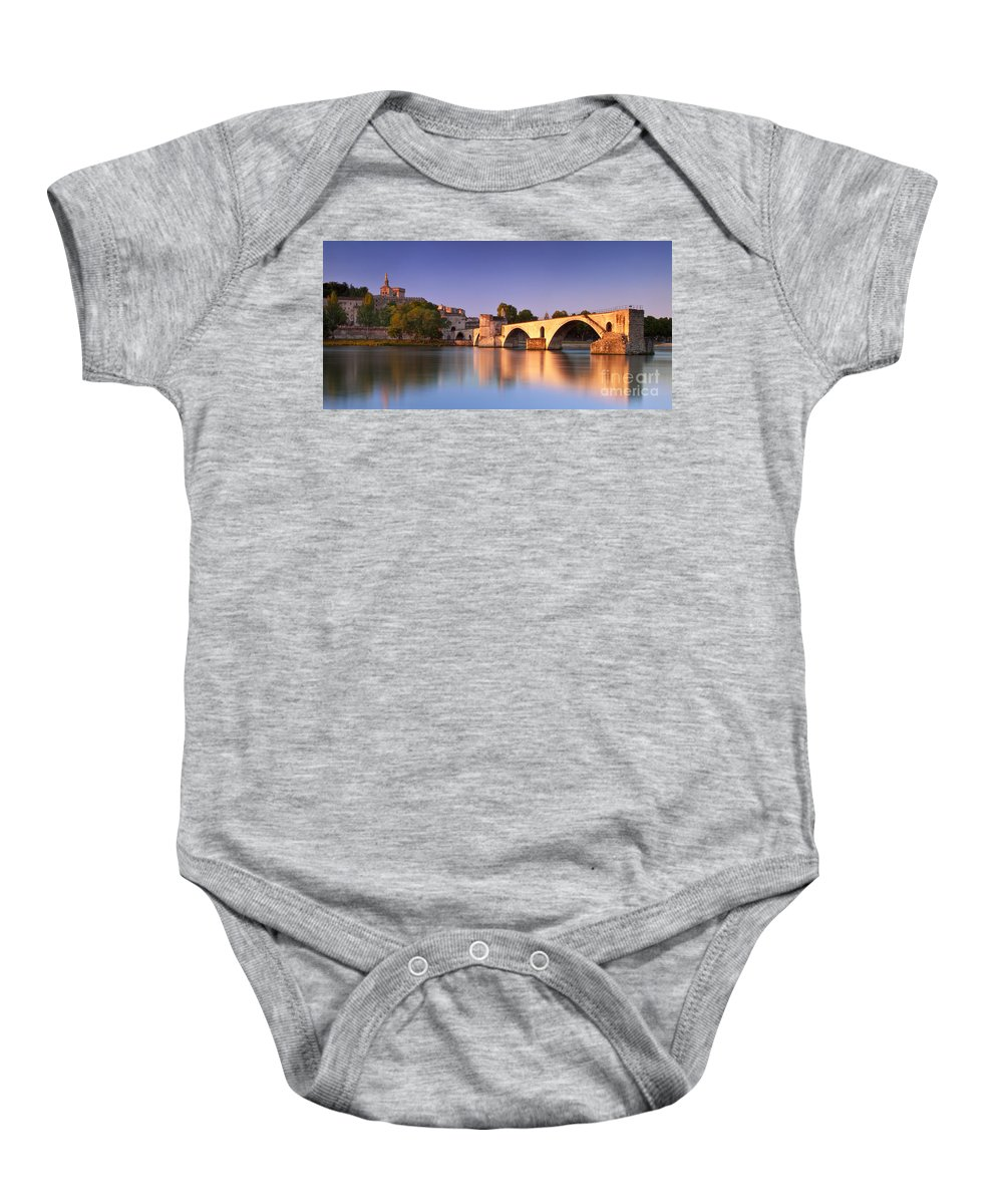 Pont St Benezet Baby Onesie featuring the photograph Pont St. Benezet by Brian Jannsen
