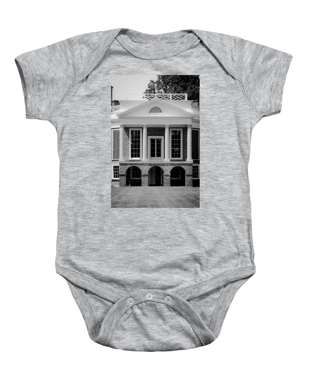 Poplar Forest Baby Onesie featuring the photograph Poplar Forest South Portico Bw by Teresa Mucha