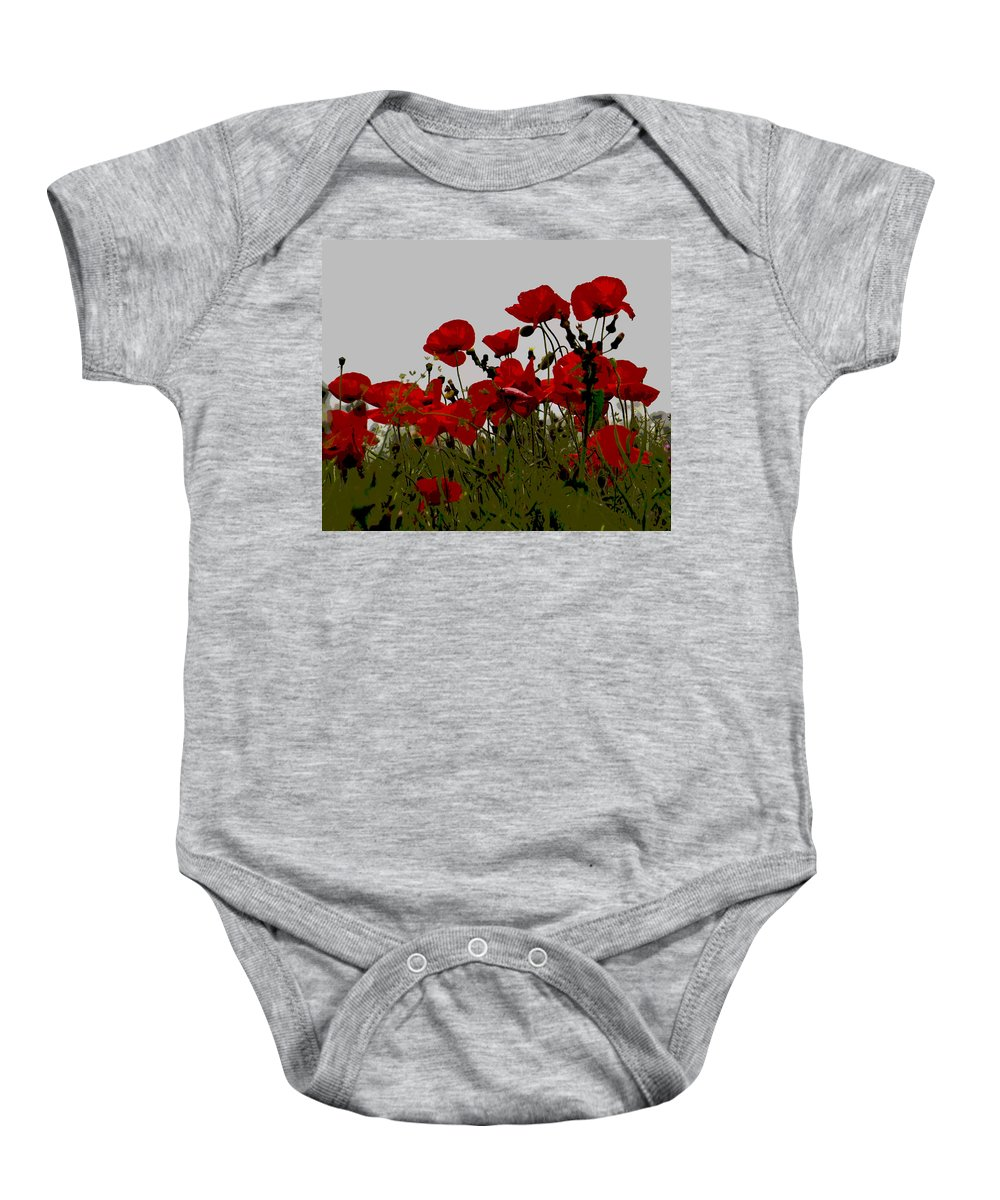 Poppy Baby Onesie featuring the photograph Poppies by David Pringle