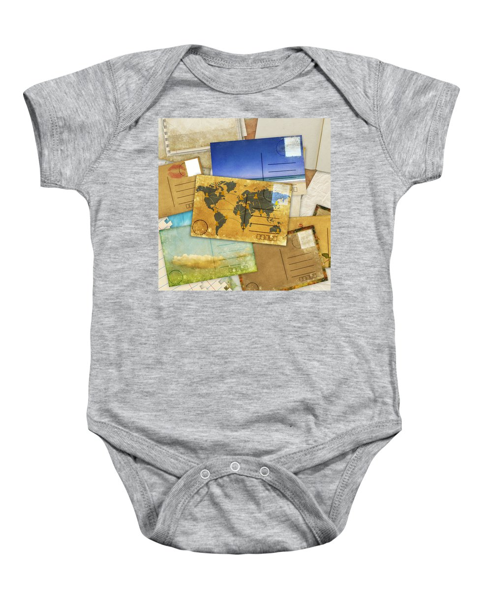 Abstract Baby Onesie featuring the photograph Postcard And Old Papers by Setsiri Silapasuwanchai