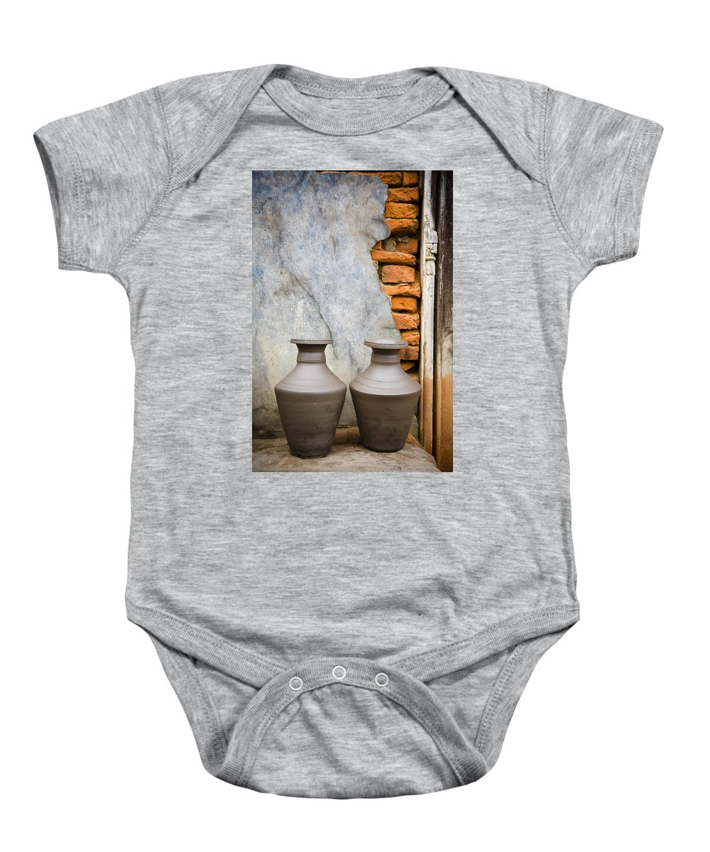 Asia Baby Onesie featuring the photograph Pottery, Bhaktapur, Nepal by David DuChemin