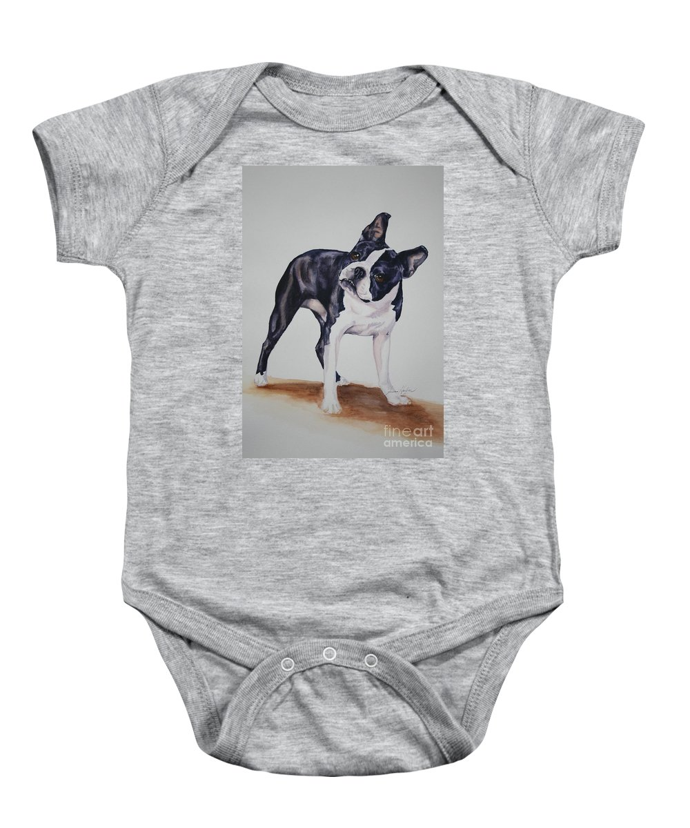 Boston Terrier Baby Onesie featuring the painting Pretty Please by Susan Herber