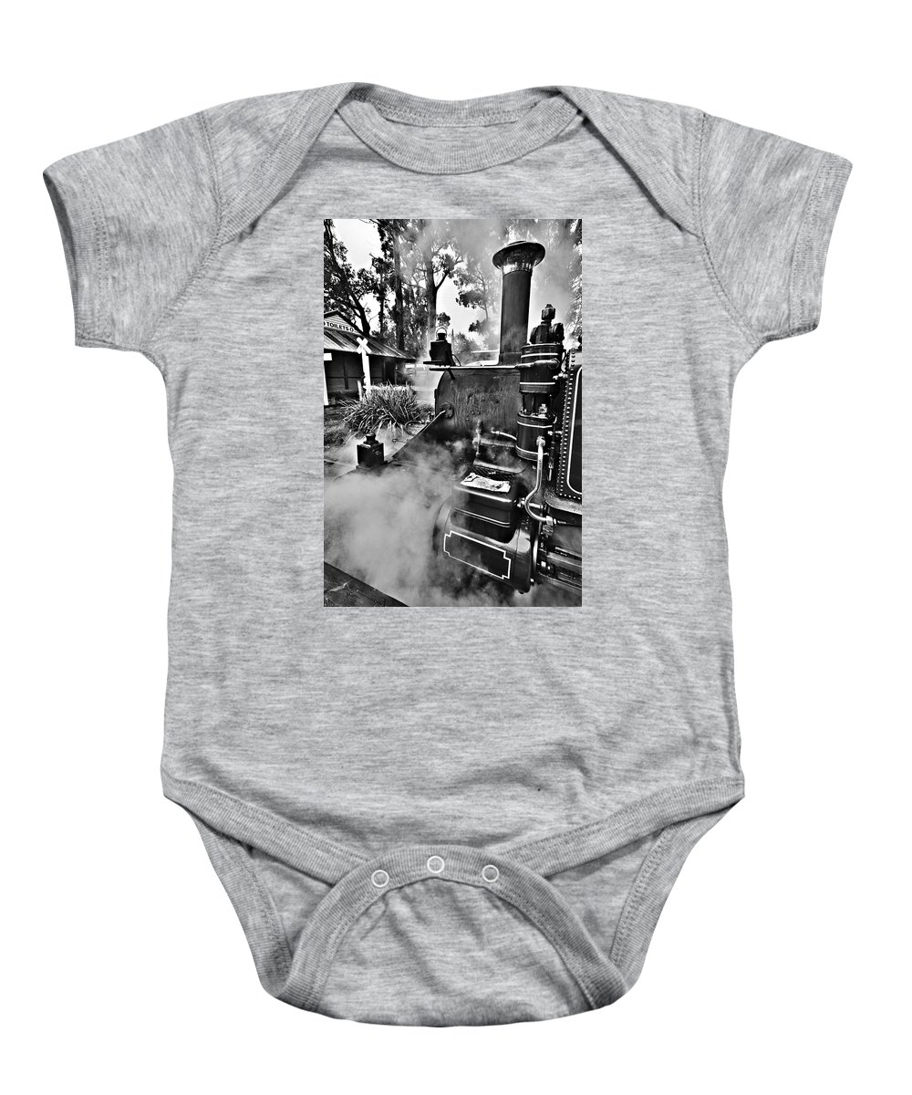 Puffing Billy Baby Onesie featuring the photograph Puffing Billy Black And White V2 by Douglas Barnard