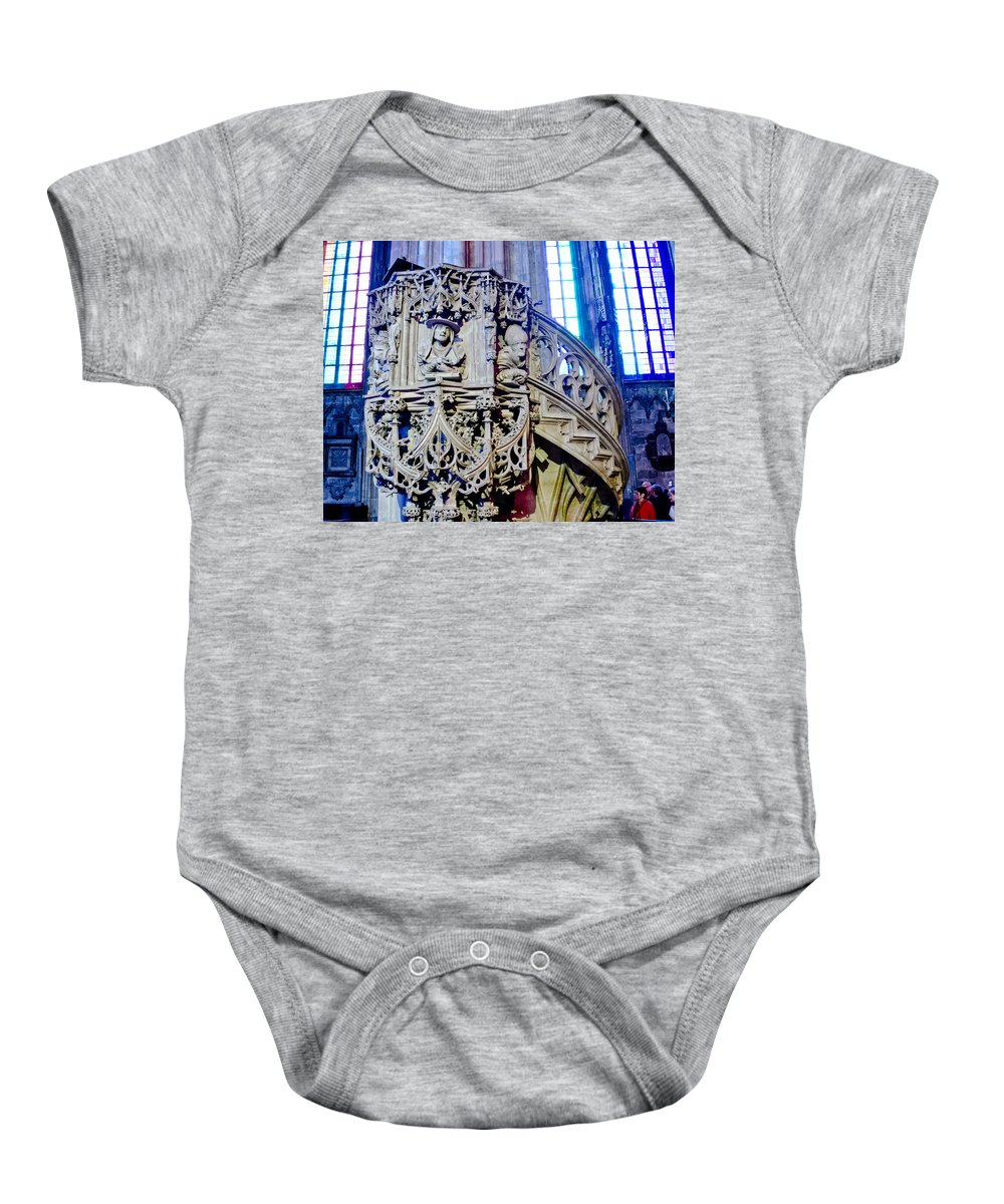 St Stephens Cathedral Vienna Baby Onesie featuring the photograph Pulpit St Stephens - Vienna by Jon Berghoff